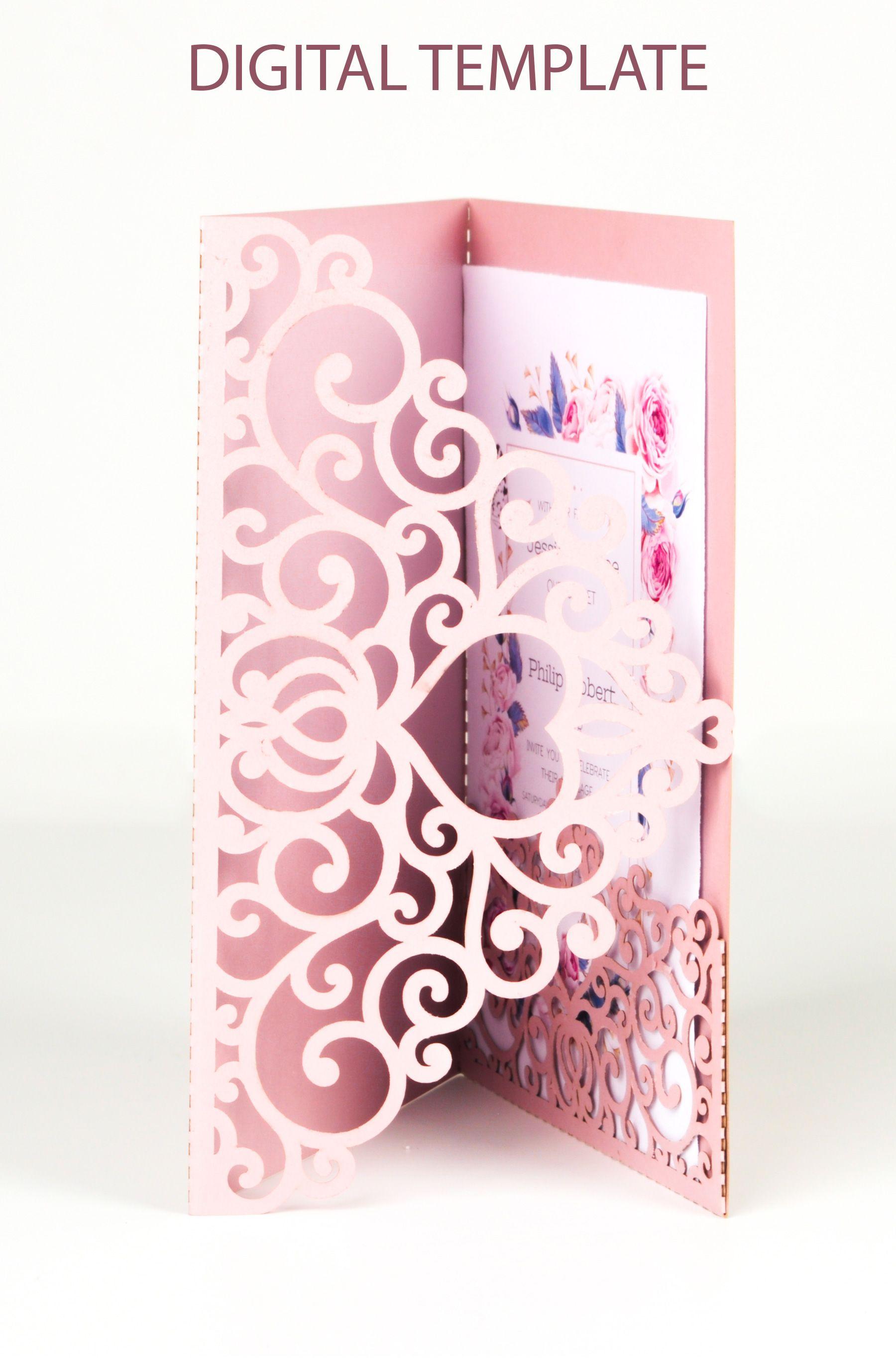 Tri Fold Wedding Invitation Pocket Envelope Svg Template 5x7 Etsy In 2020 Tri Fold Wedding Invitations Pocket Wedding Invitations Wedding Invitation Card Design