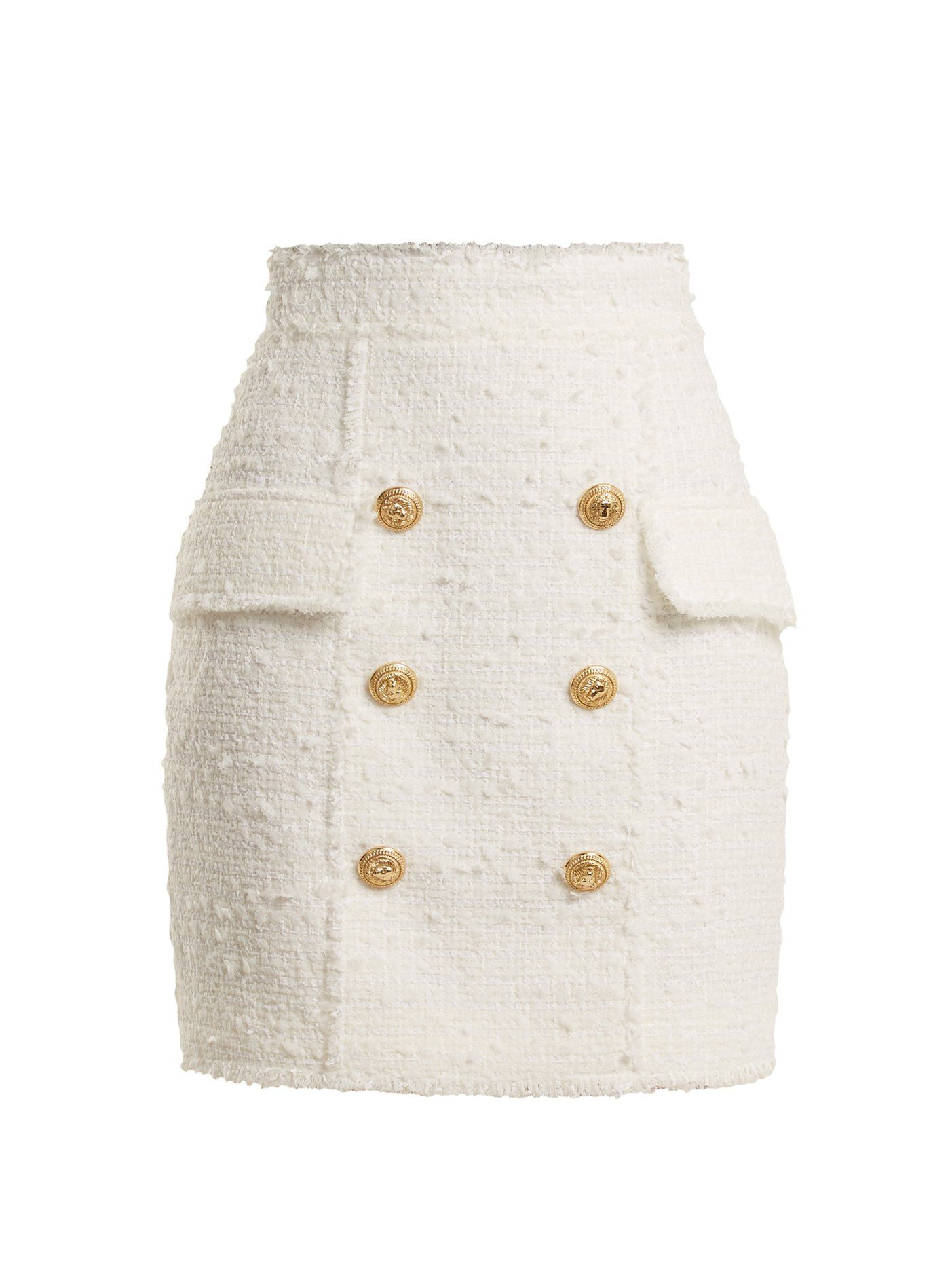 6a1af2bd Click here to buy Balmain Button-embellished tweed mini skirt at  MATCHESFASHION.COM