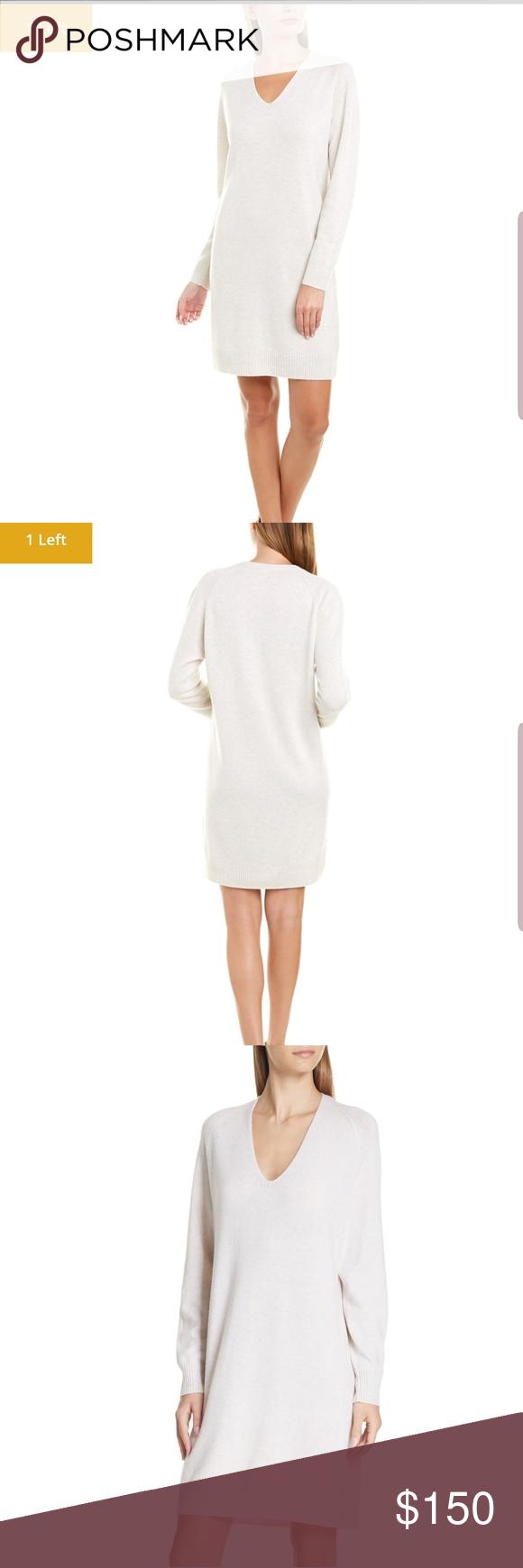 Nwt Vince White Deep V Neck Sweater Dress Sweater Dress Vneck Sweater Neck Sweater [ 1740 x 580 Pixel ]