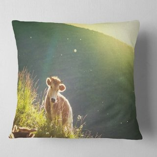 Designart 'Cow Grazing on Meadow Evening' Landscape Printed Throw Pillow (Square - 18 in. x 18 in. - Medium), Green, DESIGN ART(Polyester, Animal)