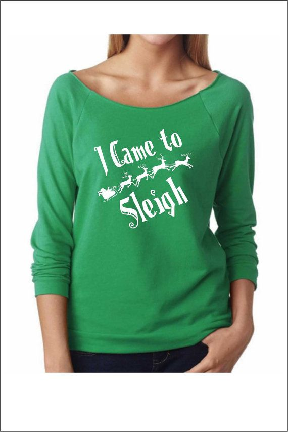 i came to sleigh ugly christmas sweater ladies terry off shoulder sweater cozy