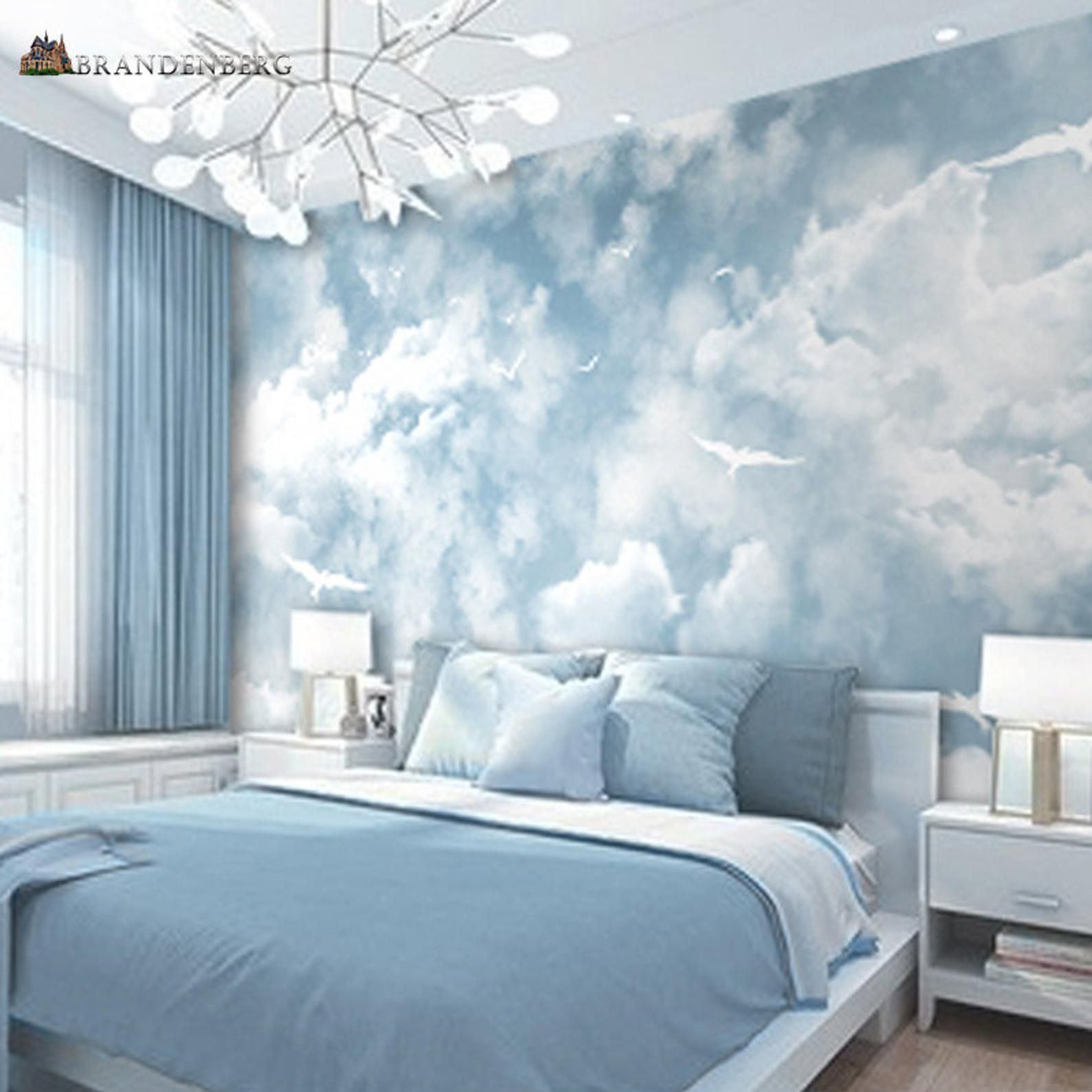 Abstract Blue Sky White Colors Sky Wallpaper Wall Mural Beautiful Sky Scene With Soaring Seagulls Bedroom Living Room Wall Mural Wall Decor Blue Room Decor Blue Rooms Bedroom Wall Designs Blue wallpaper room inspiration