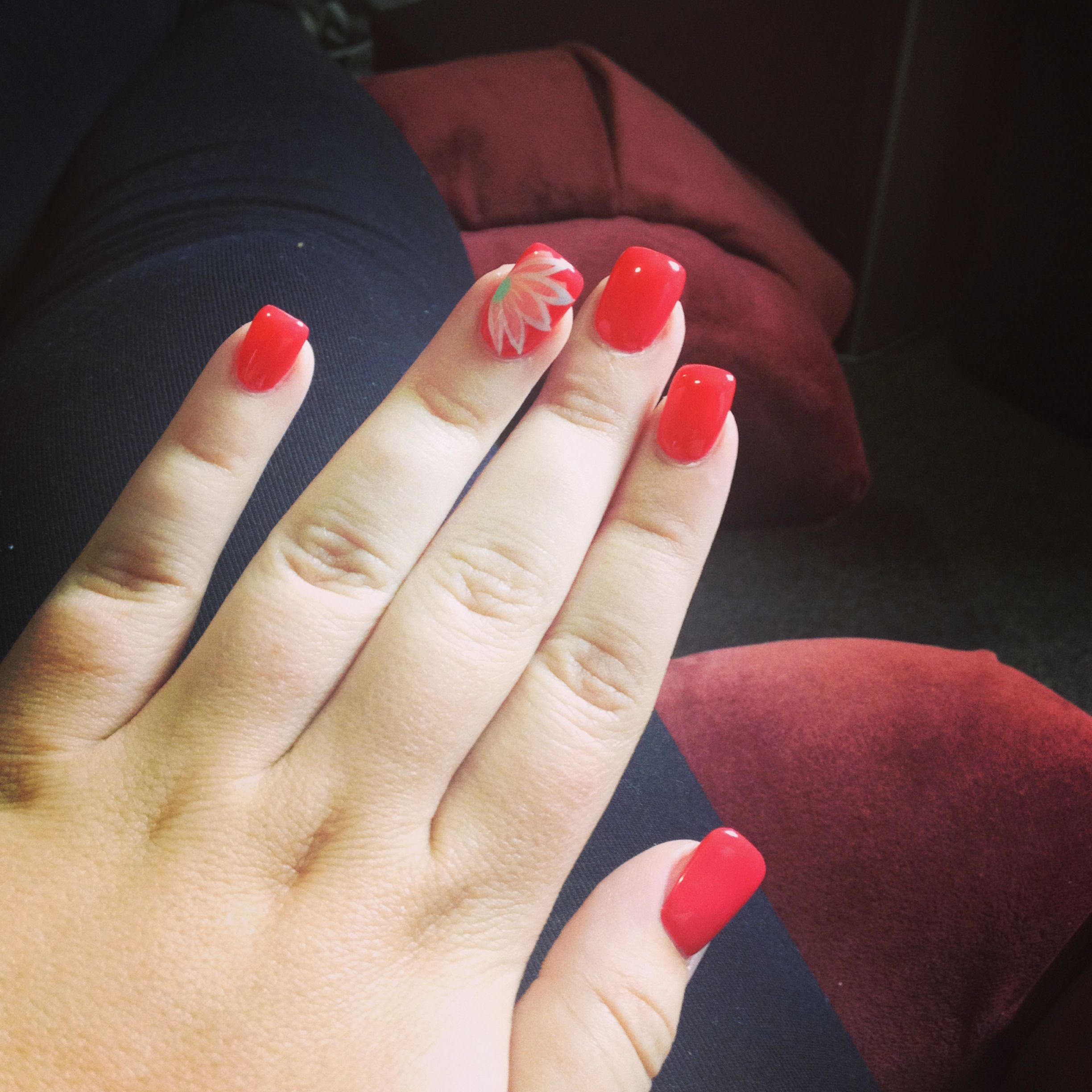 vacation nails! with a beautiful flower accent nail