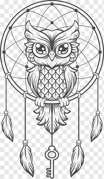 Owl Dream Catcher Dreamcatcher Owl Creative Haven Creative Kittens Coloring Book Illustration Dream Owl Coloring Pages Dream Catcher Art Dreamcatcher Drawing