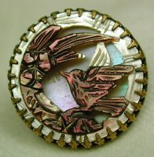 Antique Iridescent Carved Shell Button Dimensional Bird Prong Set in Brass