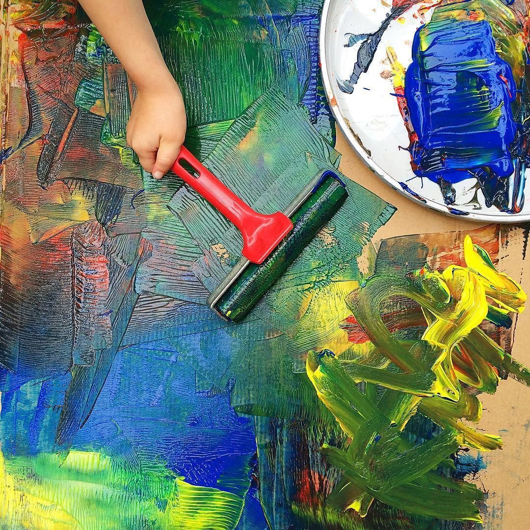 Process art with kids using a roller! | Art projects w kiddos ...