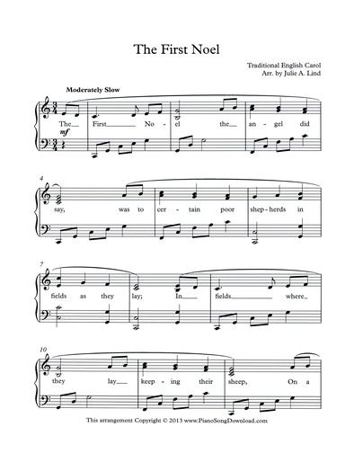 The First Noel Free Intermediate Level Christmas Carol To Print Or