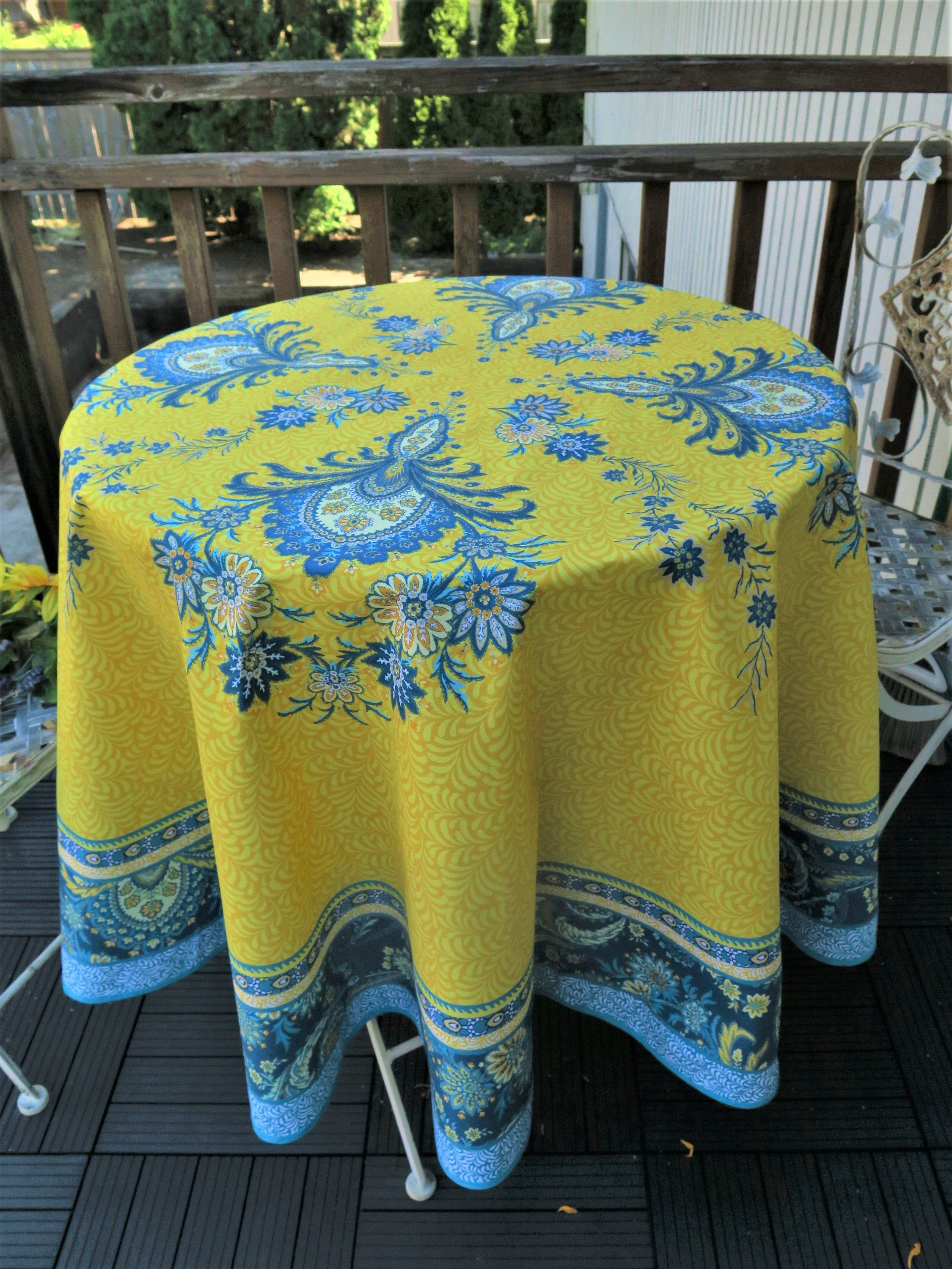 Round Cotton Table Cloth French Decor Tablecloth Indoor Outdoor Ready To Ship Floral Paisley Print Blue And Yellow Fabric Provence Decor In 2020 French Decor Provencal Decor French Fabric