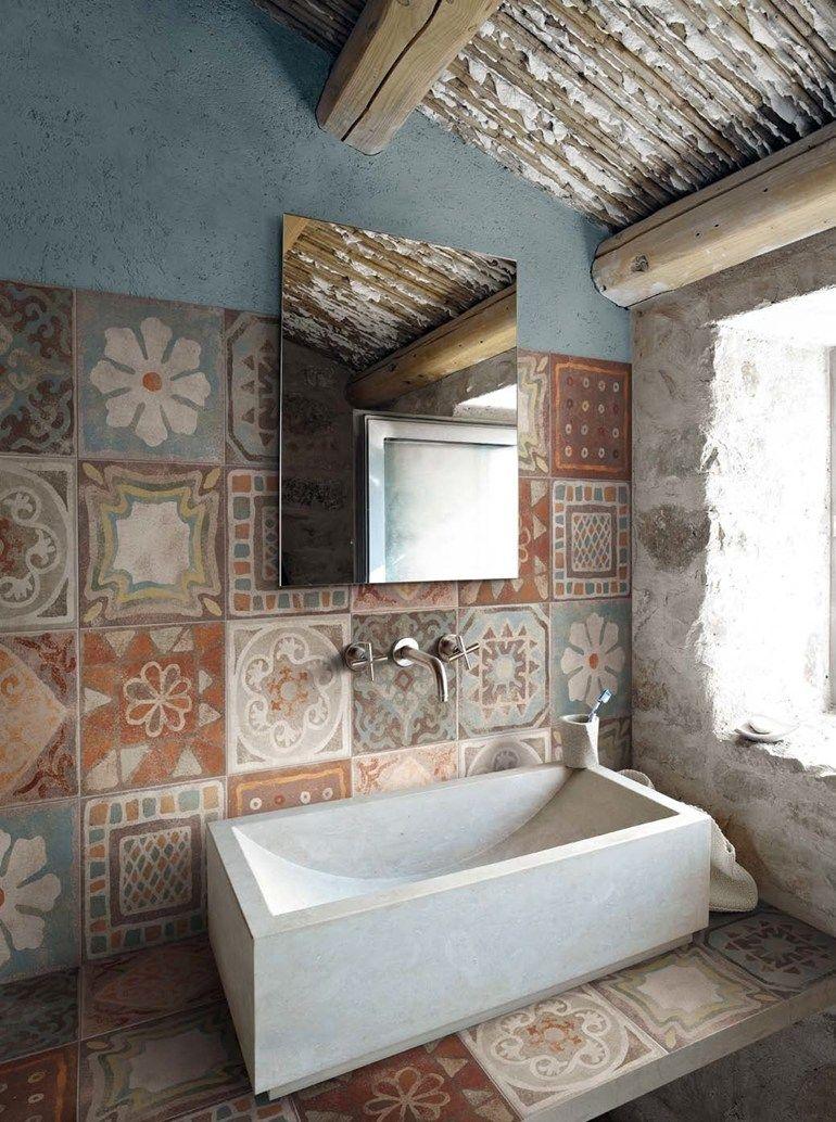 Badfliesen bad badezimmer bodenfliesen bad und bad - Rustikales badezimmer ...