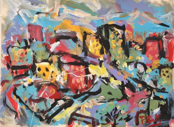 Abstract City Painting by Russ Potak by PaintingsByPotak on Etsy, $149.00