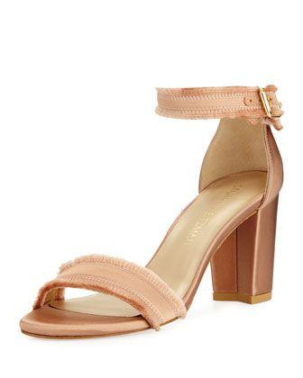 4ee9ff8a1d0 Stuart Weitzman Frayed Satin Chunky-Heel Sandals | want list | Satin ...