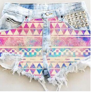 Shorts jeans 2015 verão mulheres ShortS cintura alta studded denim cut offs estilo verão em Shorts de Roupas e Acessórios Femininos no AliExpress.com | Alibaba Group