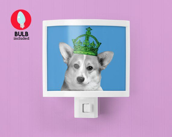 Corgi Dog Corgis Rule Night Light Dog Puppy In Crown Cute Nursery