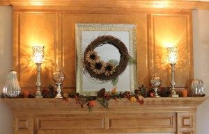 My fall mantle. How I hide the lamp wires! - Momcrieff