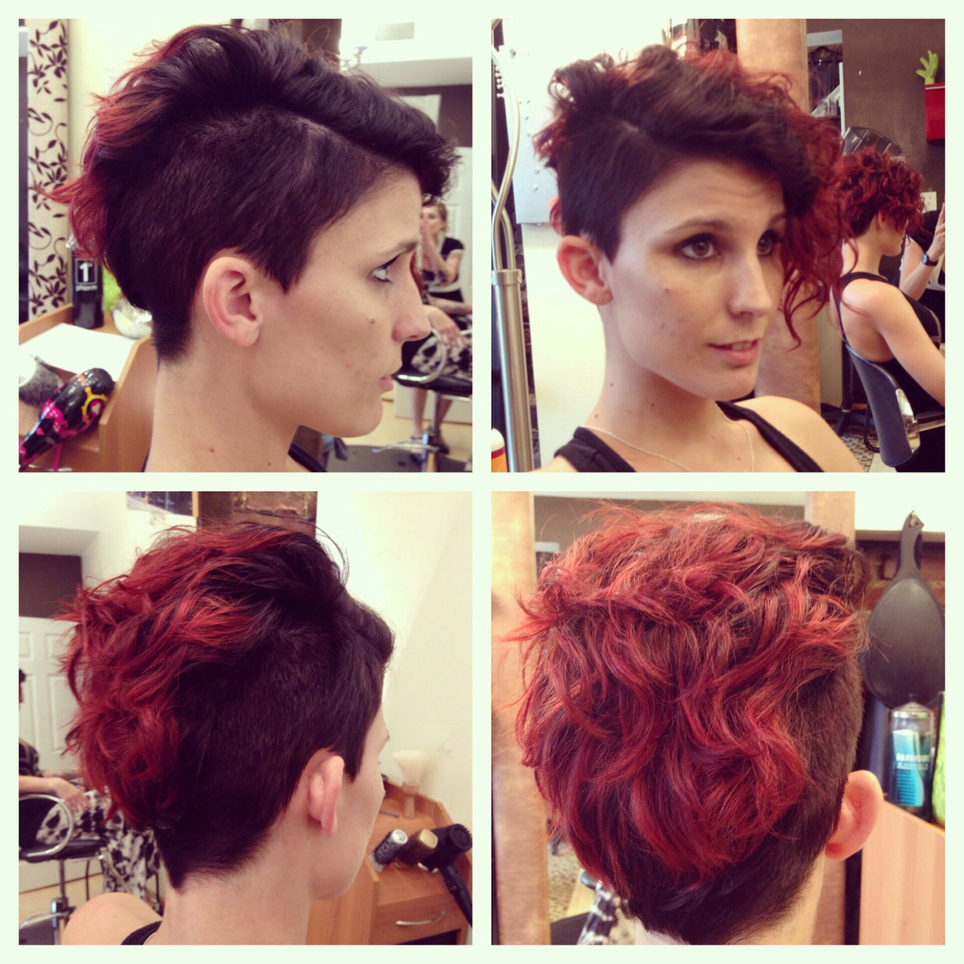 undercut pixie cut shaved sides, naturally curly pixie
