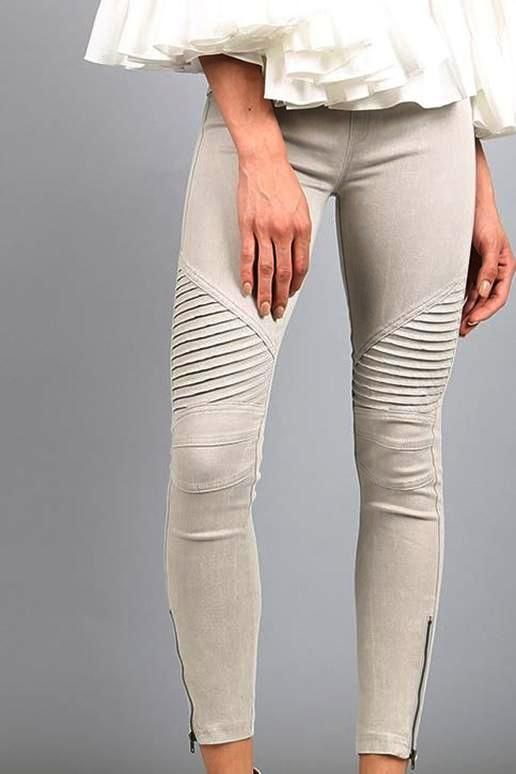 f990c47cedb20 Beulah Style - Zipper accented Moto Leggings Jeggings, super stretchy. -  Faux pockets, ankle zipper, very low rise - Color: Light Gray - Waist  24-28-30, ...