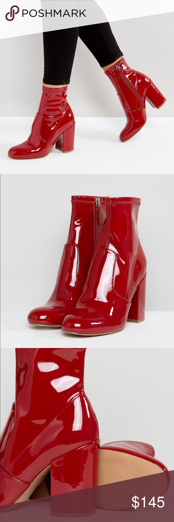 801b27a0bff Steve Madden Gaze Ankle Boots in Red Patent ❤️❤️Size US 8.5 ...