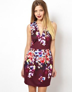 Deep plunge Floral Lantern Dress