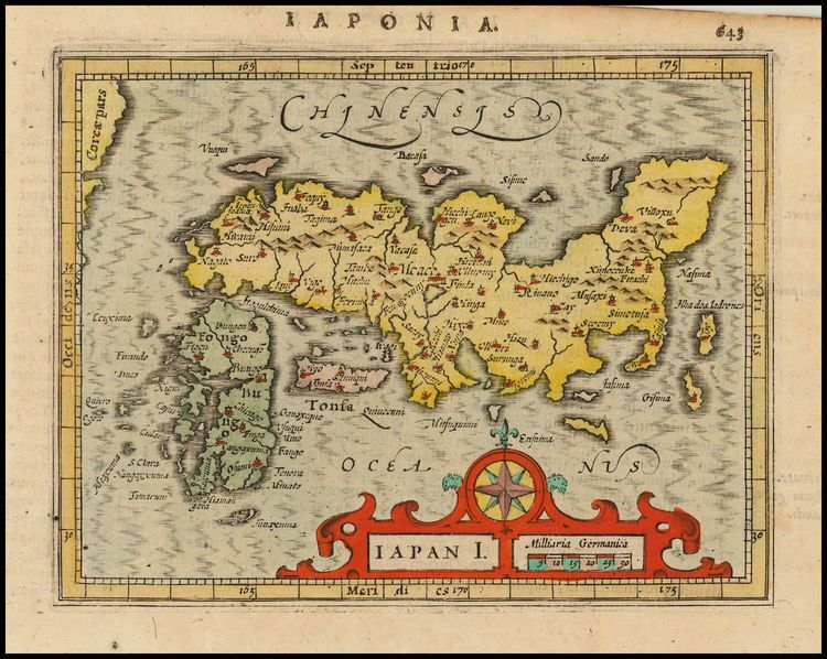 Map Of The World With Compass.By Jodocus Hondius 1620 Dutch Map Of Japan With Cartouche And