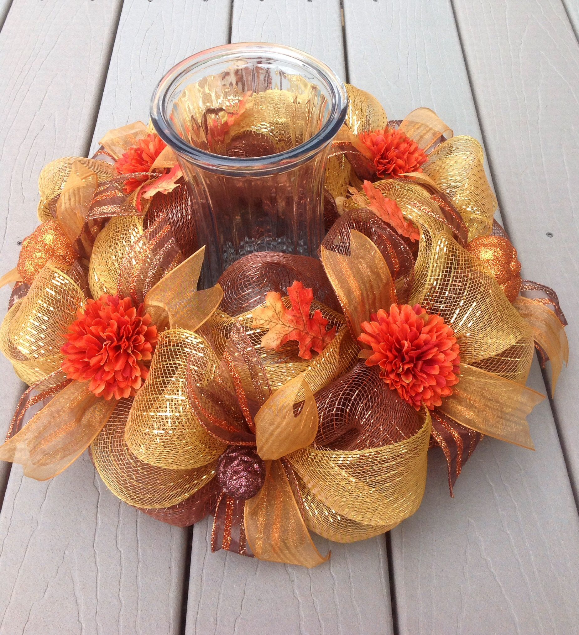 16 bronze and gold deco mesh fall centerpiece diy for Burlap wreath with lights