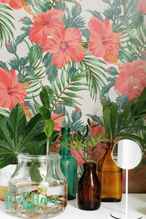 Esotici pattern wallpaper rimovibile sfondi esotici for Carta muro lavabile adesiva