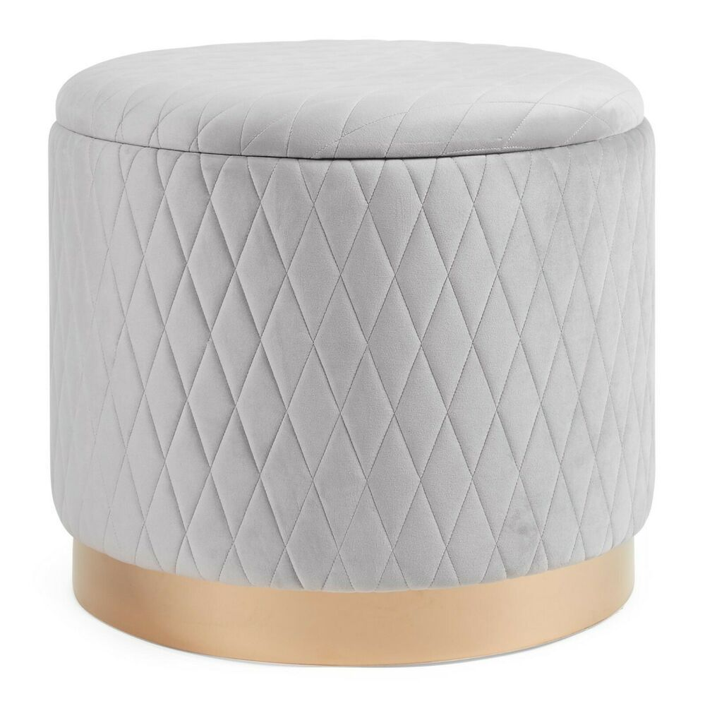 Beautify Storage Stool Quilted Grey Velvet And Gold Round Ottoman Pouffe Box Ebay Ottoman Storage Ottoman Round Storage Ottoman