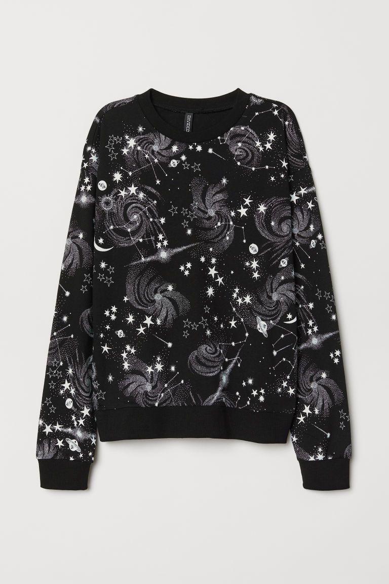 Dames Trui Met Print.Sweater Met Print H M Zwart Prints Sterrenhemel