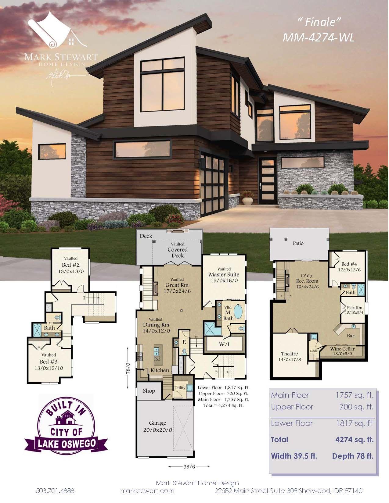 Westlake 5 House Plan Narrow Downhill Modern House Plan House Plans Modern House Plans Modern House