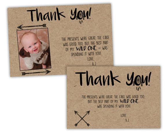 Birthday Thank You Cards Personalized Thank You Cards Wild One Birthday Party