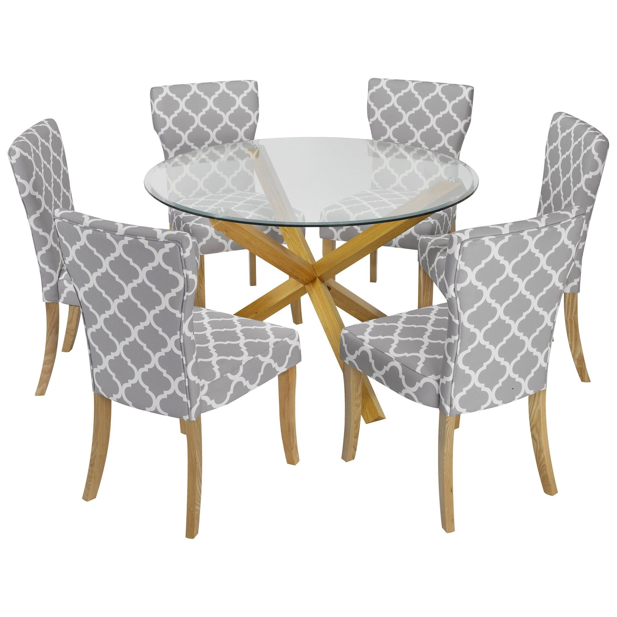 Solid oak u glass round dining table and chair set with grey