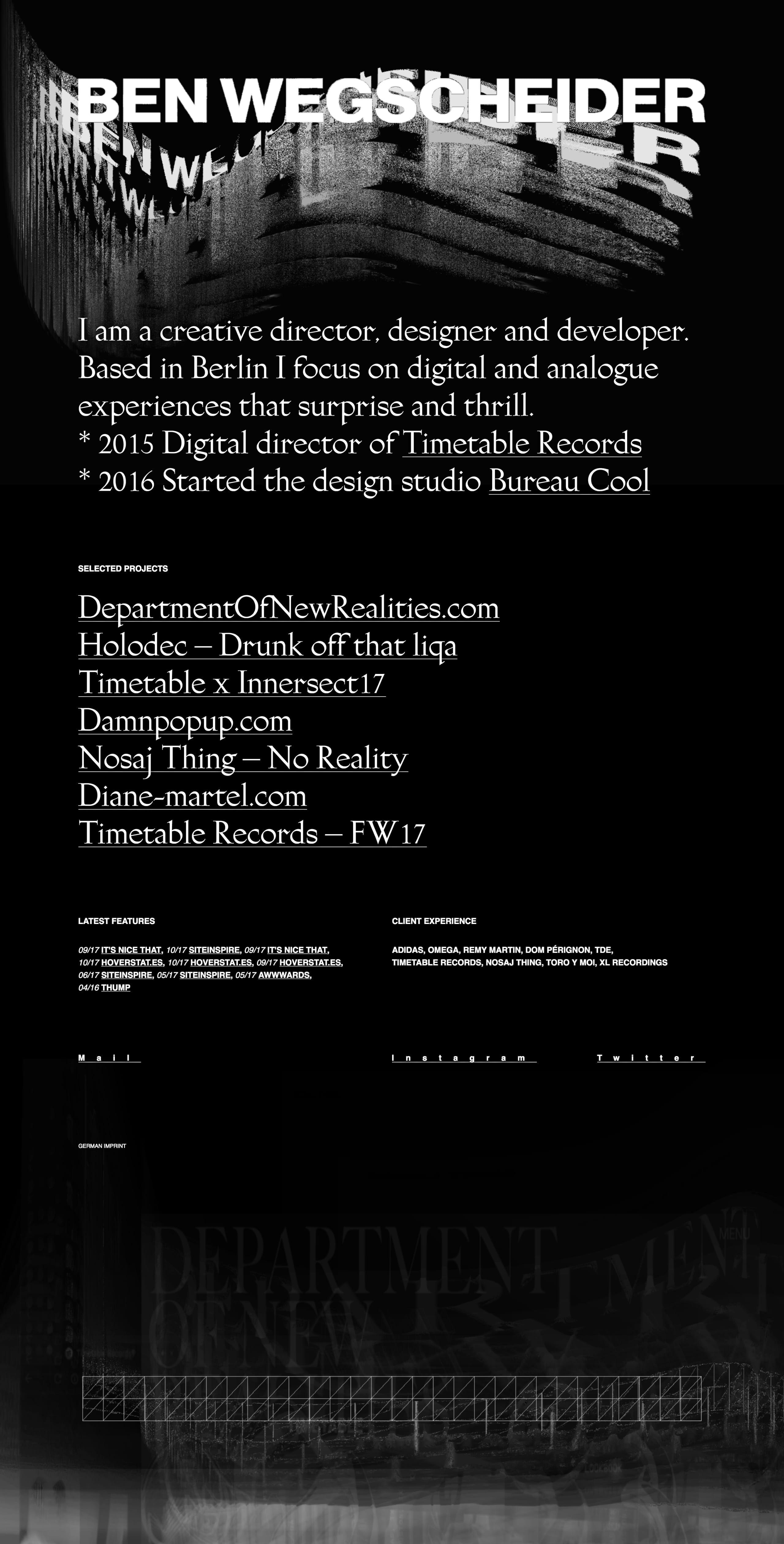 Dark schemed One Page portfolio for Ben Wegscheider featuring arty