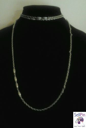 "$18.50: Vintage Silver Crown Trifari Long Chain Oblong Bead Statement Runway 32""Necklace"