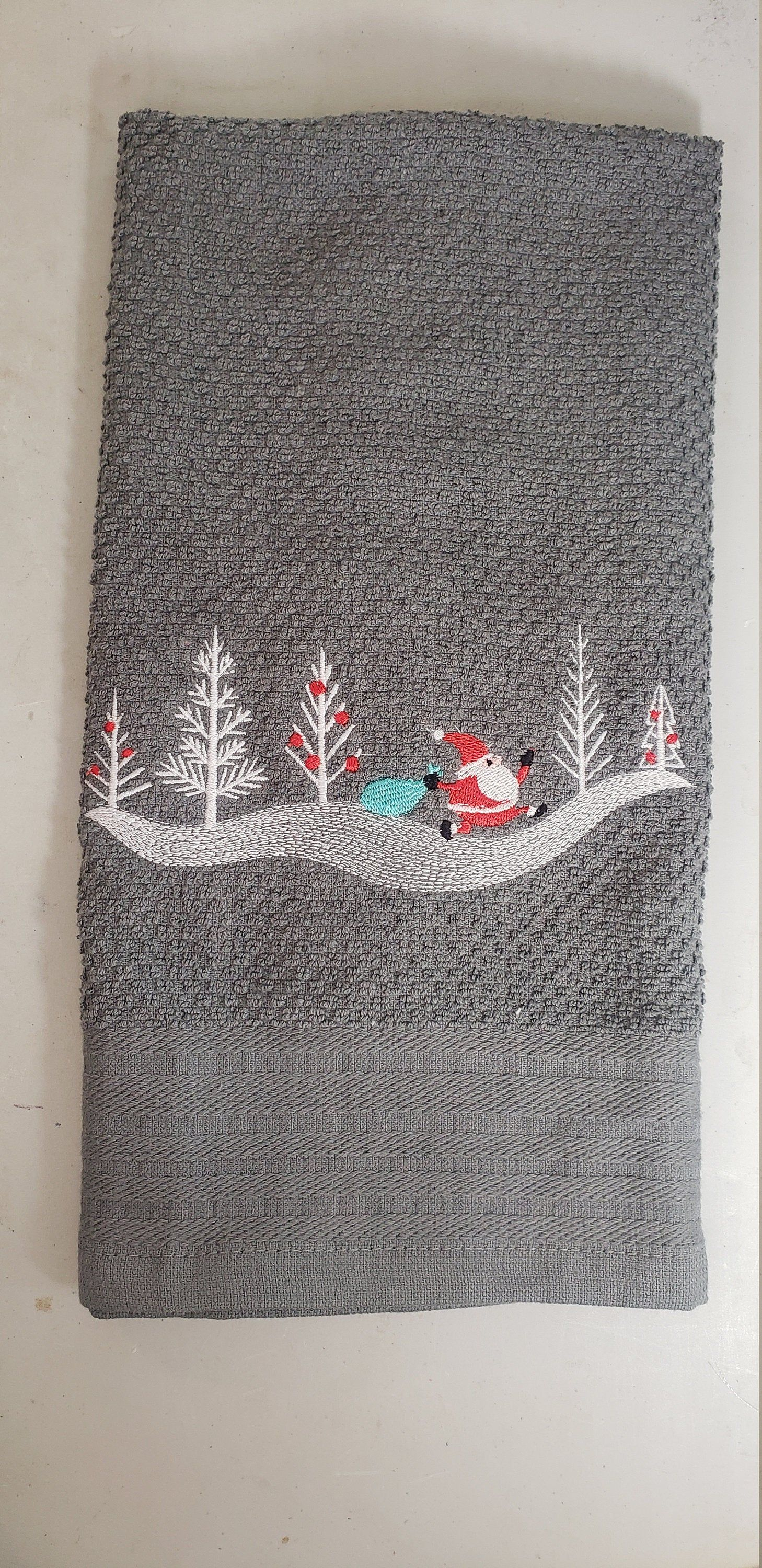Embroidered Sneaking Santa kitchen towel santa gifts santa