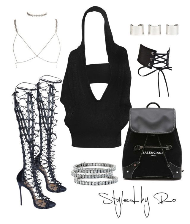 """#157"" by styledbyro ❤ liked on Polyvore featuring Balenciaga, Dsquared2, Blue Nile and Maison Margiela"