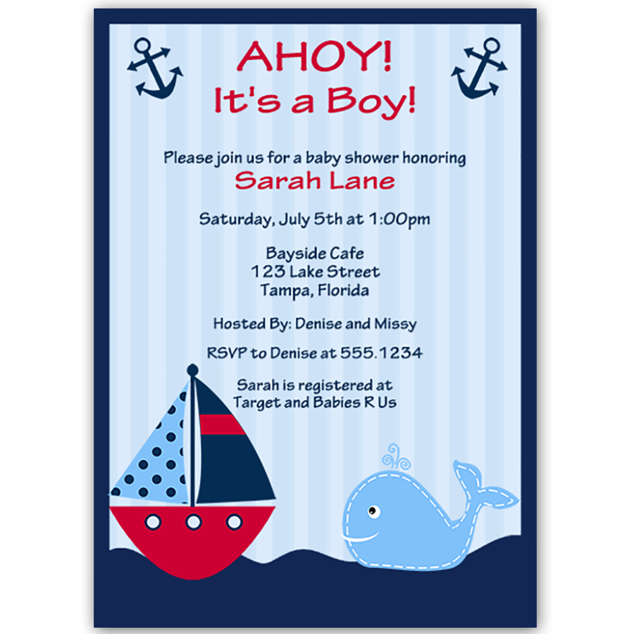 Ahoy It\'s a Boy Whale Red Baby Shower Invitation, Vertical ...