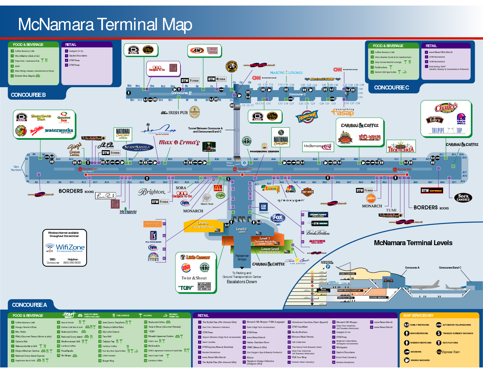dtw north terminal map Detroit Airport Delta Gates Mcnamara Terminal Map Food Beverage dtw north terminal map