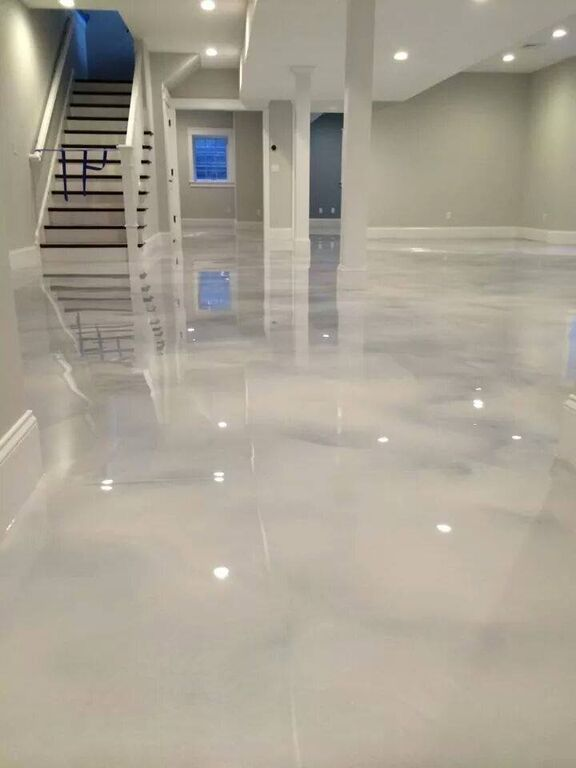 Pearl White Epoxy Concrete Floor