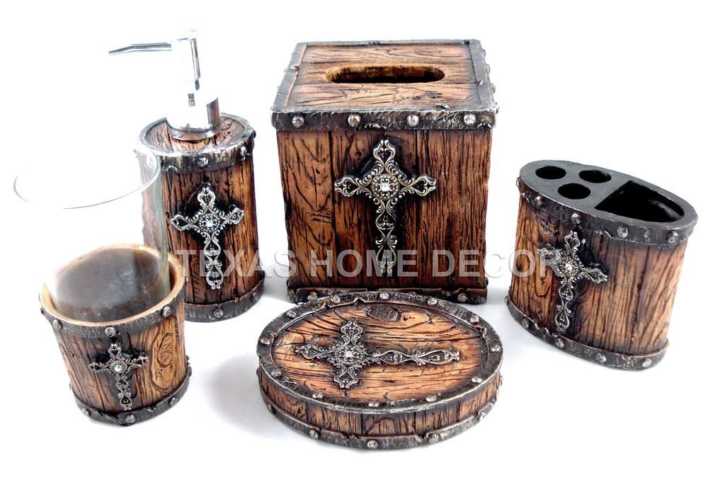 rustic cross bathroom accessory set 5 pieces faux wood look studs western - Western Bathroom Accessories Rustic
