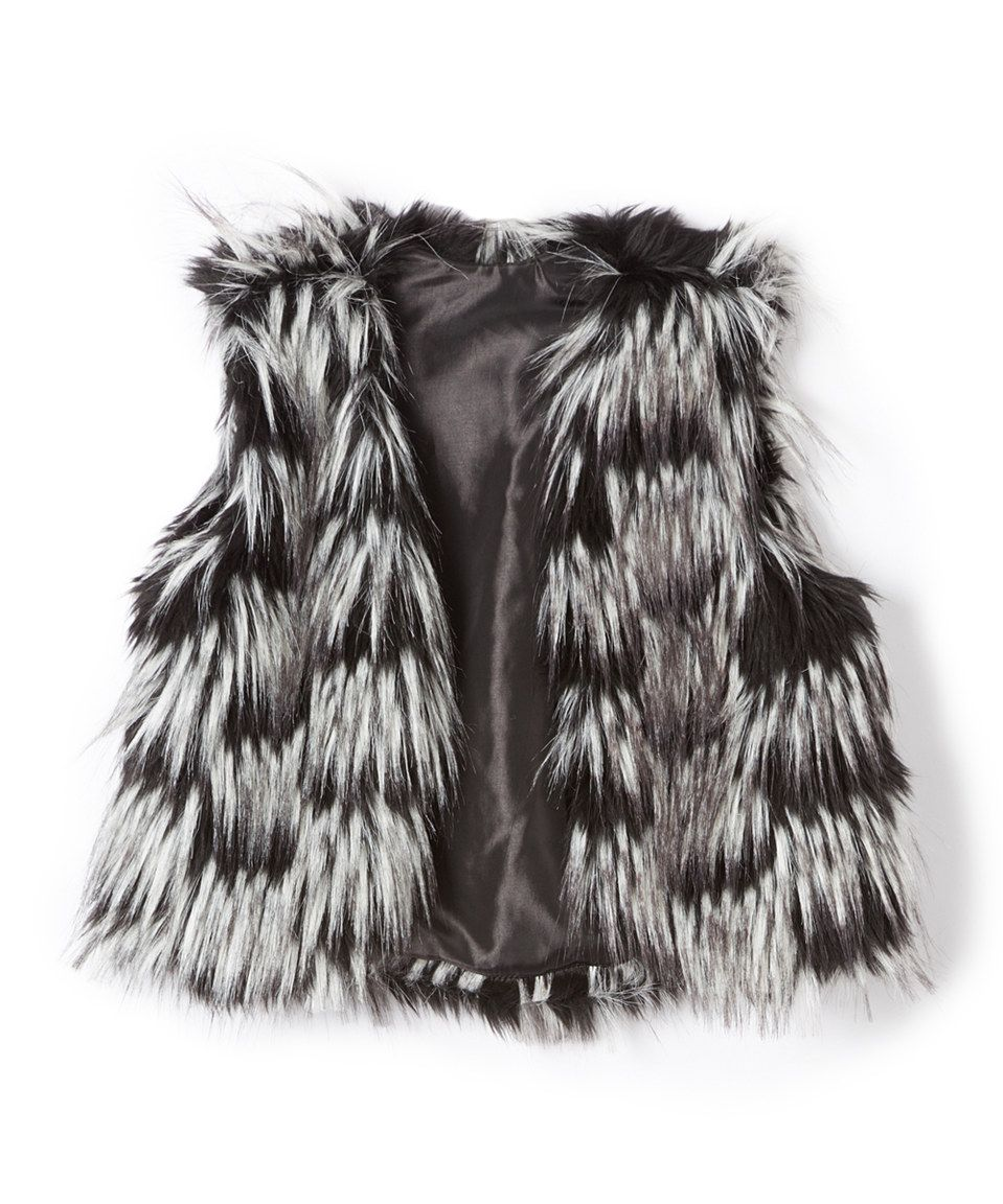 Love this Black & White Faux Fur Vest - Girls by Dimples on #zulily! #zulilyfinds
