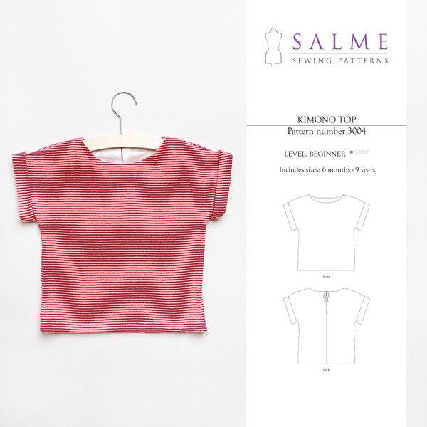 Children\'s Sewing Pattern - Kimono Top | Sewing | Pinterest | Nähen ...