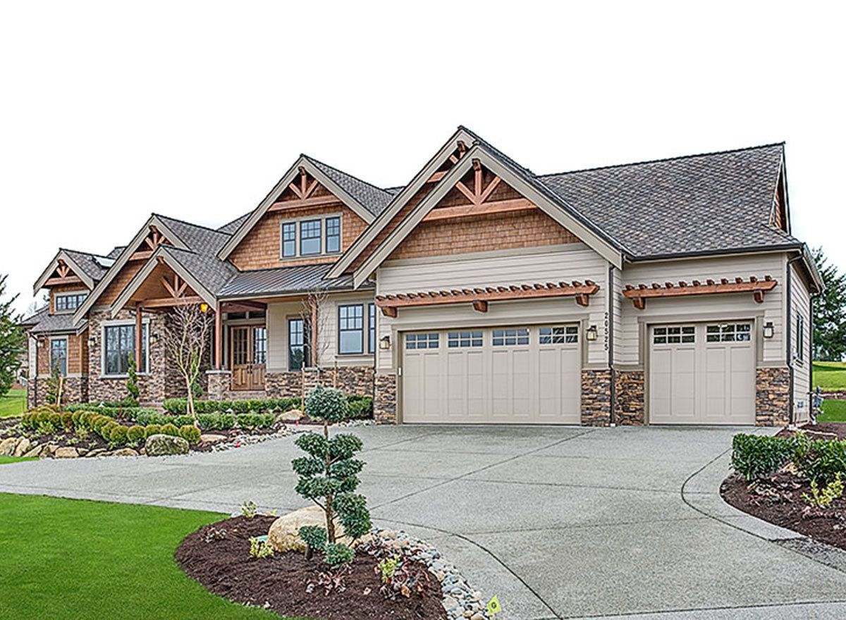 Plan 23648jd mountain craftsman with 2 master suites - Mountain home exterior paint colors ...