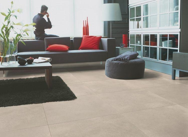 Laminat in polierter beton optik natur im wohnzimmer uf