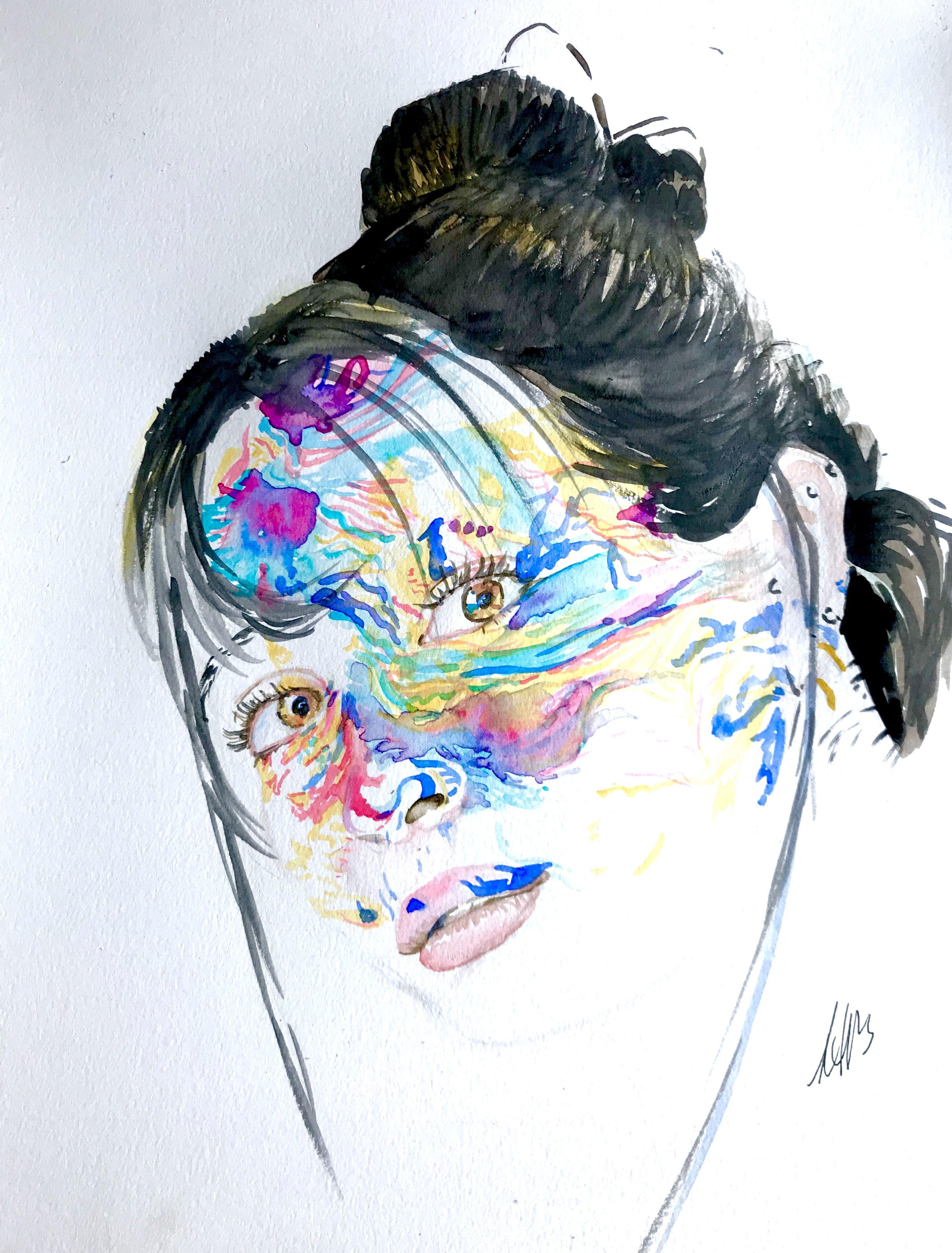 """""""Face Paint"""" watercolour portrait using vibrant colour"""