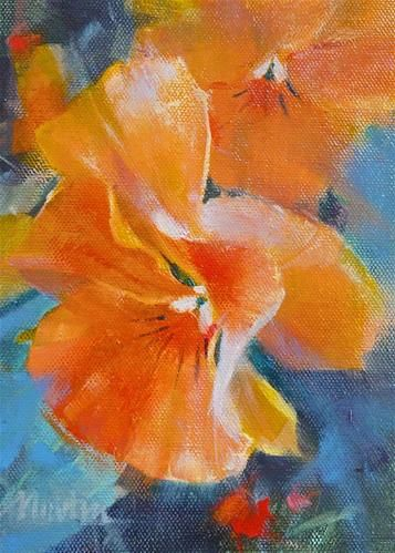 "Daily Paintworks - ""Orange Pansies SUPER SUMMER SALE"" - Original Fine Art for Sale - © Barbara Benedetti Newton"
