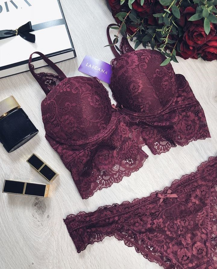 24cc931a0f0fe Lace Long Line Push-Up Bra from LASCANA women s clothing made entirely from  soft