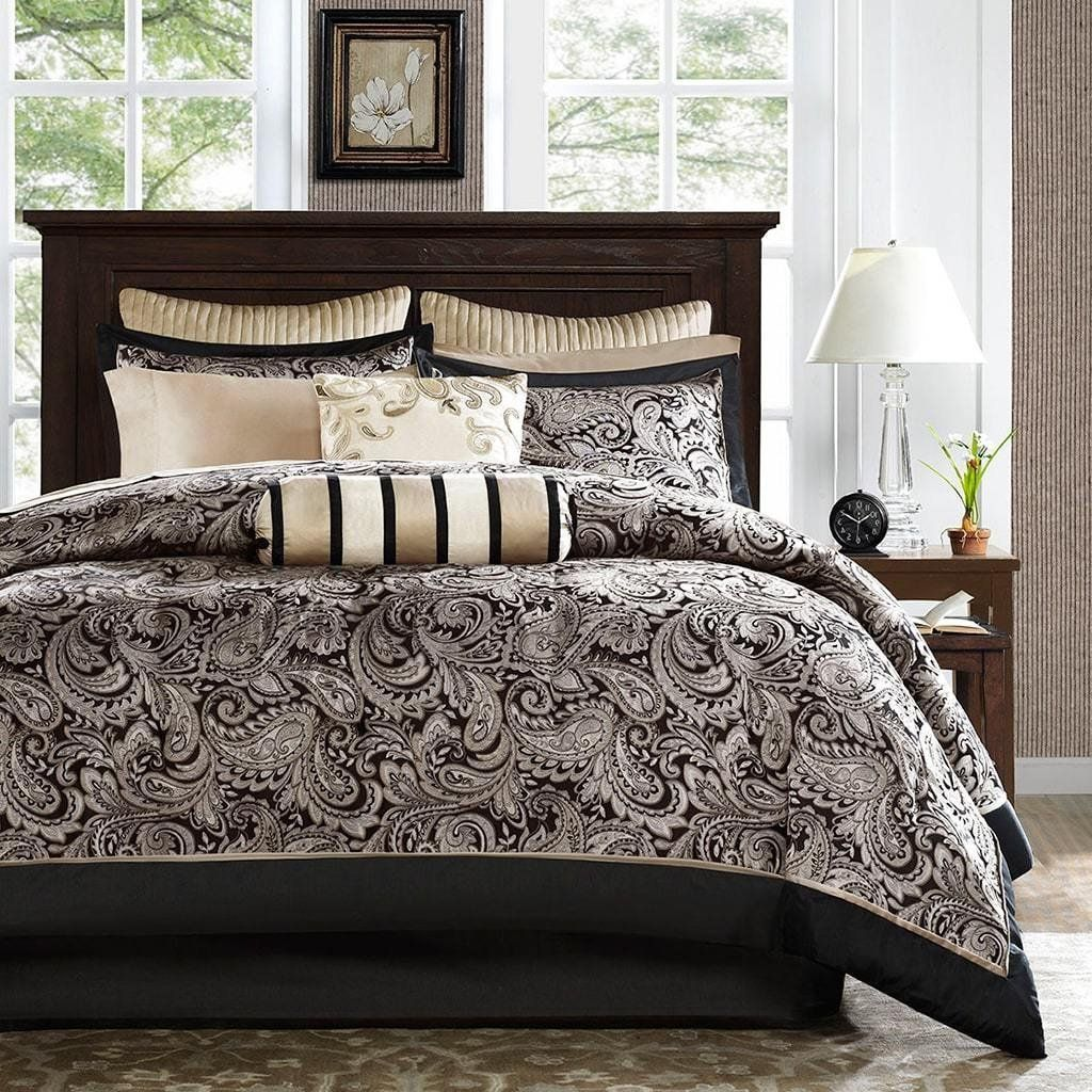 12pc Black Golden Cal King California Jacquard Paisley
