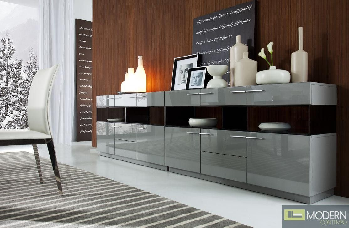Modrest Daytona Modern Grey High Gloss Buffet in maryland | buffet ...