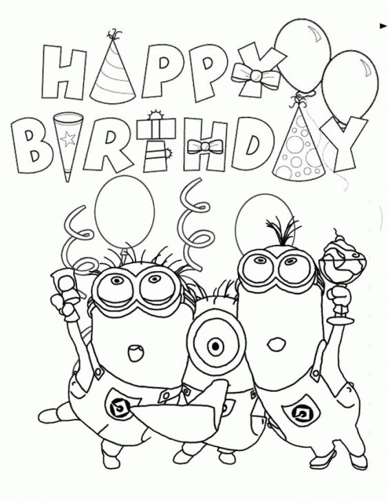 Happy Birthday From Minions Coloring Page Fun Coloring Pages