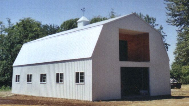 Prefabricated metal and steel barns at national heirloom for Prefab gambrel roof trusses