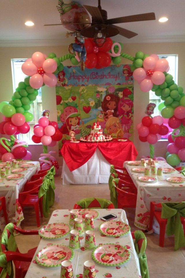 Pin By Annie Kim Rochon On Party Ideas Strawberry Short Cake Birthday Party Strawberry Party Strawberry Shortcake Party